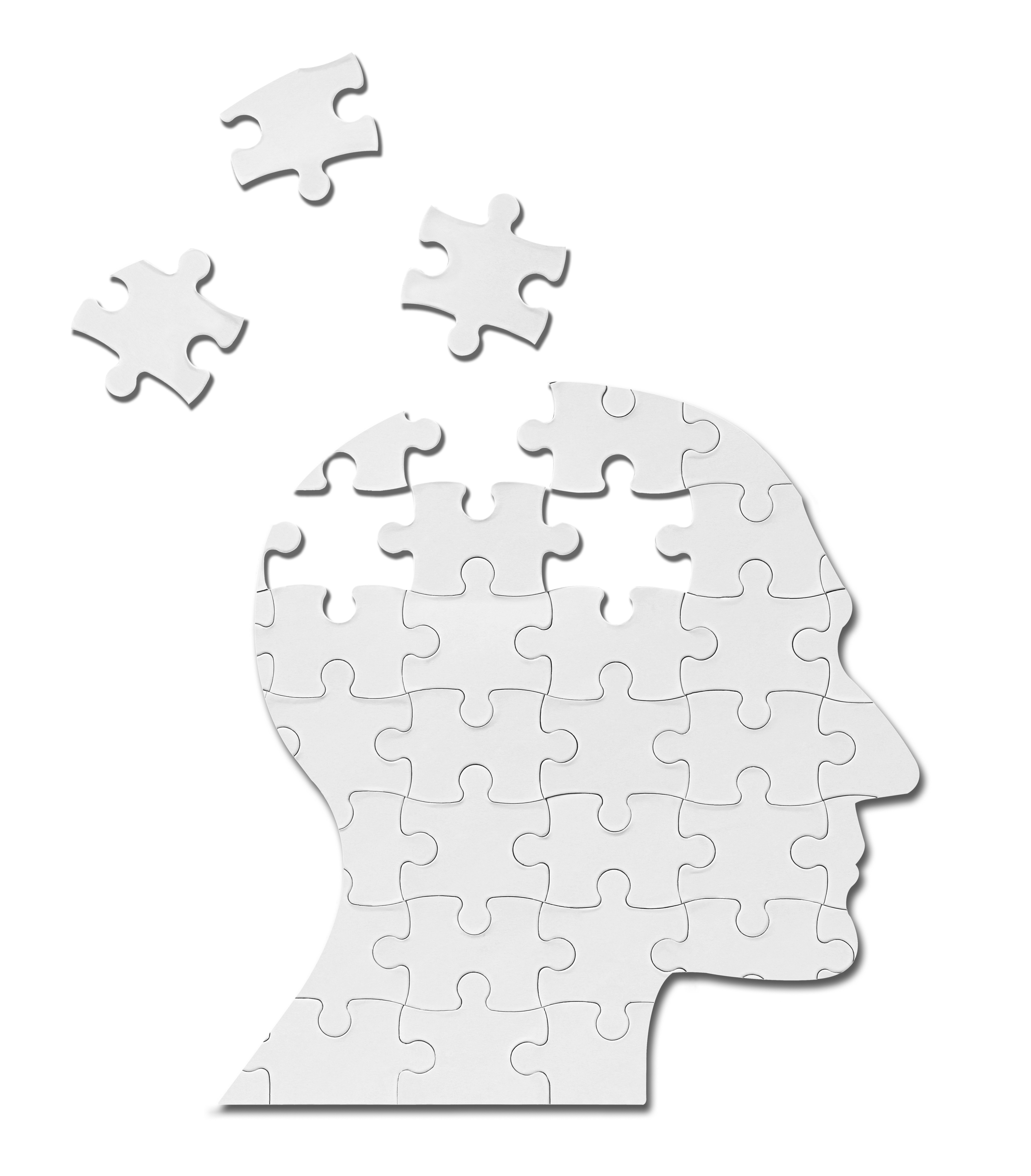 close up of a puzzle game parts on a head silhouette-1