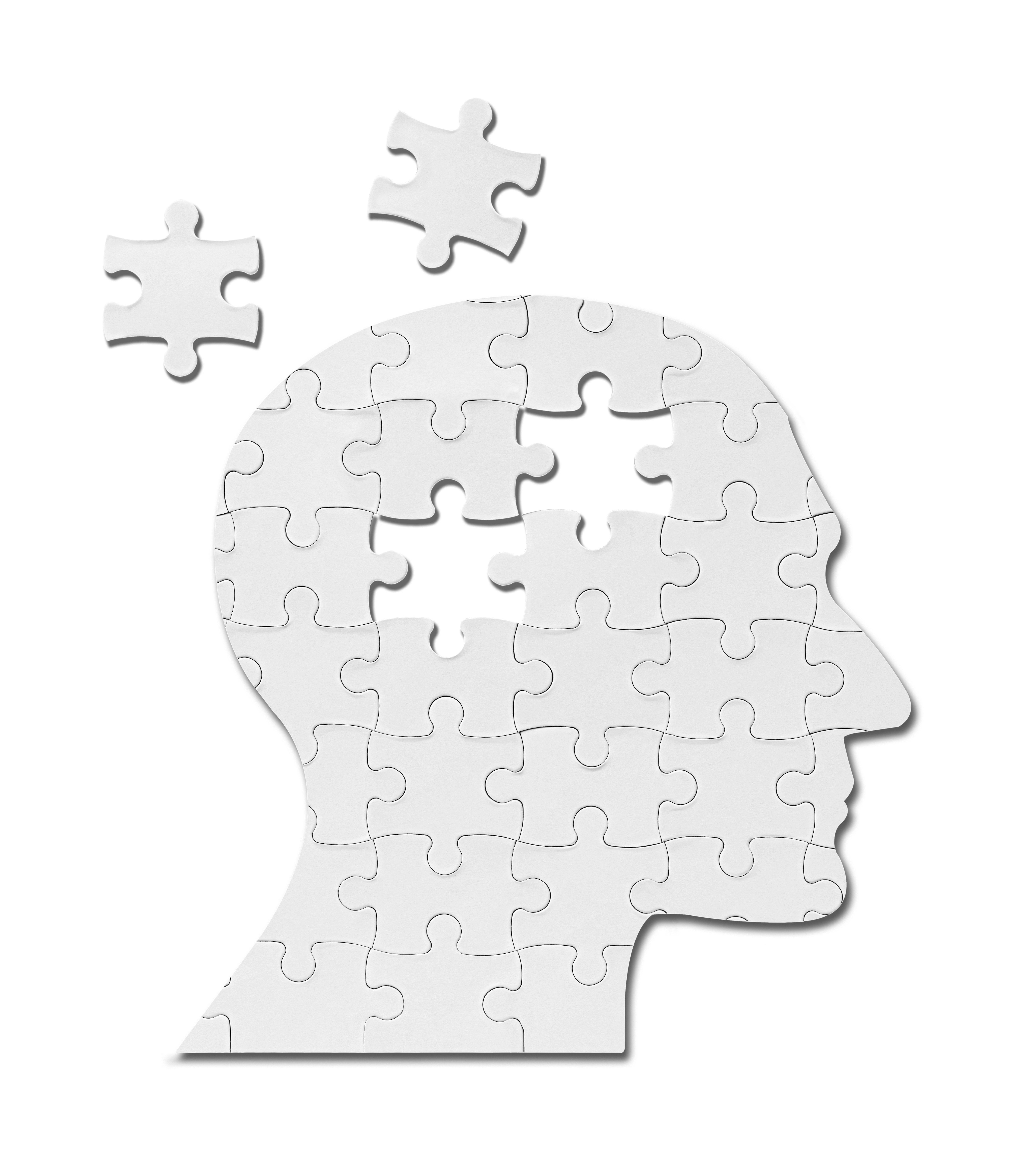 close up of a puzzle game parts on a head silhouette-2